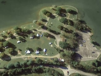 Aerial View of Poland Creek Campground and Boat Launch area